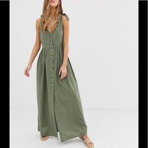 ASOS NWT Green Woven Button Dress